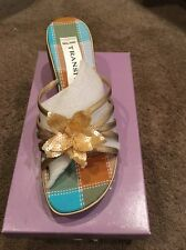 New York Transit Iridescent Nylon Strappy Wedge Sandals w/Floral Accent Sz 8 1/2