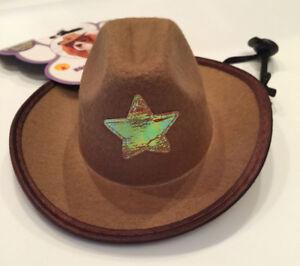 Pet Cowboy Hat Western Wear Rubie's Pet Shop S/M Star Bungee Strap Pink Brown