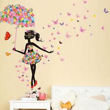 Wall sticker adesivo Girl Butterfly fiori farfalle decorazione parete cameretta