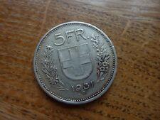 1931 Svizzera 5 Franco Argento/Franken Coin (ref33)