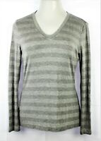 ST. JOHN Yellow Label Sz M Grey Viscose & Metallic Knit Top V-Neck Long Sleeves