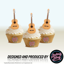 NOVELTY ACOUSTIC GUITAR 12 STAND UPS Edible Image Cake Toppers birthday music