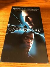 Unbreakables Vhs Vcr Video Tape Movie Samuel L. Jackson Bruce Willis Used Horror