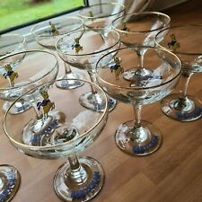 More details for set of 10 x babycham champagne glasses (yellow bambi) vintage retro gold rim