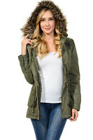 Womens Faux Fur Hoodie Sherpa Lined Military Safari Utility Fashion Parka Jacket