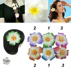 "12 Pack Hawaiian Plumeria Flower Hair Clip Plumeria Bridal Wedding Party 4"" Lots"