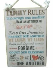 Country Printed Quality Wooden Sign FAMILY RULES, GRATITUDE Plaque New Inspire