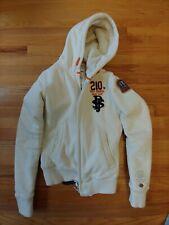 Parajumpers Womens Zip Fleece Lined Hooded Sweatshirt Jacket Cream Size M