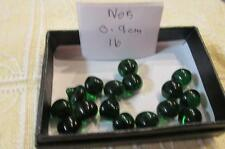 SMALL BUTTONS LOT 5- 16 Pointed dome DARK GREEN 0.9 cm Vintage Glass Buttons