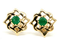 9ct Gold Emerald Celtic Stud Earrings Gift Boxed Made in UK Christmas Gift
