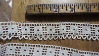 "Antique CROCHETED TRIM, 1 Piece, Cream Color, 1""Wide, 1 Yard, #5"
