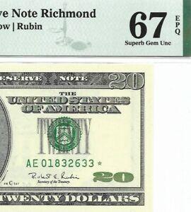 1996 $20 RICHMOND *STAR* ⭐️  FRN, PMG SUPERB GEM UNCIRCULATED 67 EPQ BANKNOTE 1