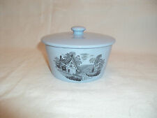 Vintage Copeland Spode Blue Butter Dish & Lid Decorated with Rural Scene