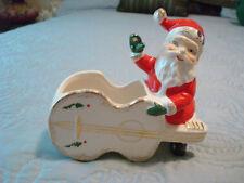 Vintage UCAGCO~Christmas~SANTA w/CELLO~Planter~Gold Trim~Japan