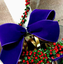 1m 63mm WIDE WIRED FLORIST DARK PURPLE VELVET,CHRISTMAS RIBBON,FLORIST,GIFT,TREE