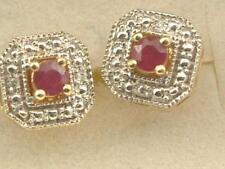14KT GOLD RUBY & ACCENT DIAMOND STUD EARRINGS