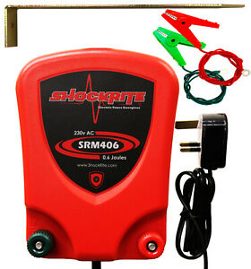 ELECTRIC FENCE ENERGISER Mains Powered 230V - 240V 0.6J + Earth Stake Cables