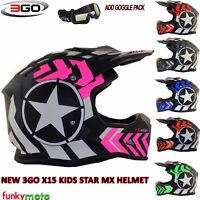 3GO X10-K Graphic Motorbike Helmet Pink Motocross Kids Quad ATV Dirt Enduro Children Off Road BMX MTB Wear 49-50 CM M