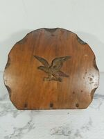 Vintage Wooden Napkin Holder Americana Cabin Brass Eagle
