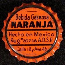BEBIDA GASEOSA NARANJA ORANGE CORK SODA BOTTLE CAP CROWN AGUA PRIETA SONORA MEX.