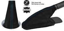 BLUE STITCH REAL SUEDE GEAR & HANDBRAKE BOOT FOR BMW MINI COOPER R55 R56 R57
