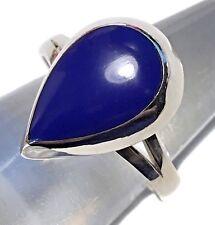 17mm Solid 925 Sterling Silver Lapis Lazuli Bezel Teardrop Ring 2.2g Band Size 8