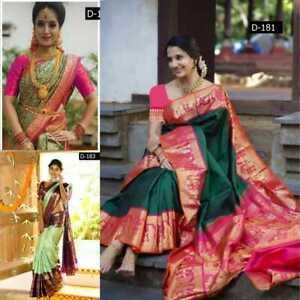 Saree Indian Designer Kanchipuram Silk Bollywood Party Wear Wedding Sari Blouse