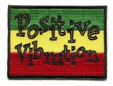 "POSITIVE VIBRATION rasta colors IRON-ON PATCH 3"" red yellow green reggae p-3336"