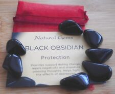 Obsidian Tumblestones 7 Obsidian Crystals with Crystal Card 15mm to 18mm
