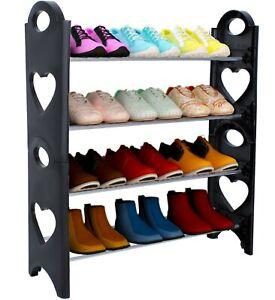 Étagère à chaussures empilables 12 paires 4 niveaux Rangement 59x20x66cm Noir FR