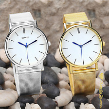 GENEVA Women Ladies Watch Gold Silver Stainless Steel Mesh Band Wrist Watches