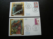 FRANCE - 2 enveloppes 1er jour 1974 (journee timbre/francis poulenc)(cy43)french