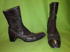 Brown Pebbled Reptile Gianni Barbato Boots 8 38.5