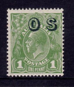 Australia KGV Head CofA Wmk - 1d Green OS Ovpt MUH SG O129