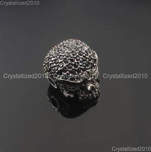 Zircon Gemstones Pave Solid Round Drilled Skull Bracelet Connector Charm Beads