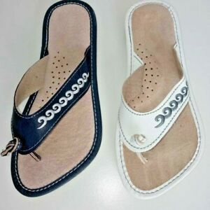 NEW WOMENS LADIES FLIP FLOPS SANDALS LEATHER SUMMER NAVY BLUE / WHITE ALL SIZES