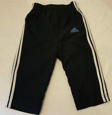 Boys Adidas Blue, Black & White, 3 Stripes Tracksuit Bottoms, UK 9-12 Months.