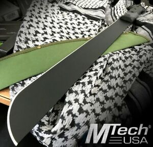 "M-TECH USA 22.75"" STAINLESS STEEL TACTICAL CAMPING BLACK MATTE MACHETE W/ SHEATH"