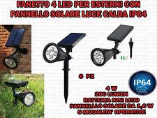 8 FARETTI 4 LED GIARDINO PARETE PANNELLO SOLARE SENSORE CREPUSCOLARE LUCE CALDA