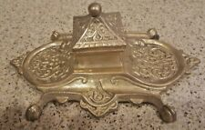 French Art Nouveau Brass Inkwell