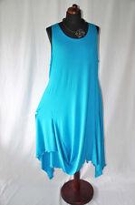 Lagenlook raffiniertes Tunika-Zipfel-Wolken-Kleid Jersey türkis XL,XXL,XXXL