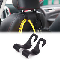 Car Back Seat Headrest Hook Hanger Holder For Bag Purse Cloth Grocery Black