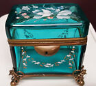 ANTIQUE BOHEMIAN MOSER ENAMEL HINGED BLUE GLASS JEWELRY CASKET SUGAR BOX