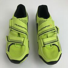 Muddyfox Cycling Shoes UK 8 Men Neon Yellow Hook & Loop Bicycle Footwear 291761