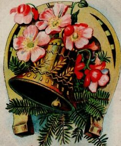Best Christmas Wishes Jingle Bell Red Flowers Horse Shoe Pine tree 6610 Vintage