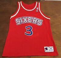 Vintage Philadelphia 76ers Iverson 3 NBA Champion Mens Basketball Jersey 40