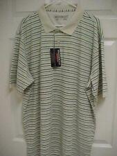 WEATHERCAST Men Moon Beam Striped Green Golf Short Sleeve Polo Shirt XXL New Tag