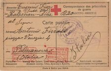Italy red cross prisoner of war card 1917 Katzenau to Palmanova