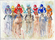 HORSE RACING WATERCOLOUR FINE ART/GICLEE PRINT. A4 SIZE. ARCHIVAL QUALITY INKS