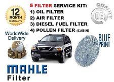 Per KIA SORENTO 2.5 TD CRDI 2003-2010 Olio Aria Carburante Polline Filtro Servizio Kit Set
